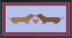Cute Valentine's Day crossstitch pattern Dachshunds in by ucladoc, $3.00    @Debbie Facemire