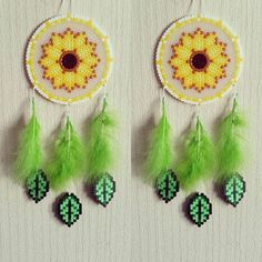 Sunflower dreamcatcher perler beads by sistyria