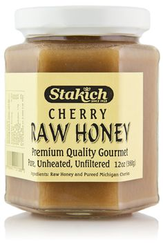 Stakich Raw Honey is blended with 100% pureed Michigan cherries, forming a delicate, fruity blend of irresistible sweetness. Use this honey as a spread on warm toast, or in place of jelly with peanut
