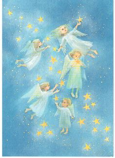 Ilon Wikland Angel Illustration, Christmas Illustration, Christmas Books, Christmas Angels, Merry Christmas, Ladybug Rocks, Archangel Gabriel, Angels Among Us, Renaissance Art