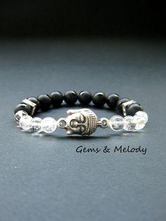 #Buddha #Mala #Bracelet #MalaBeads #MalaBracelet #PrayerMala Buddha bracelet, Onyx bracelet, healing stones and crystals chakra bracelet, protection bracelet, Mala beads bracelet, summer boho bracelet
