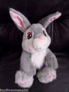 "Thumper Bunny Plush Disneyland Disney World Stuffed 17"" Gray White Bambi 16"""
