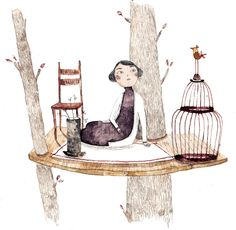girl, bird, cage, tree; illustration
