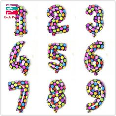 new style Dot colours digit Wave point number 0 to 9 foil balloons birthday party Digital balloon wedding Christmas decoration