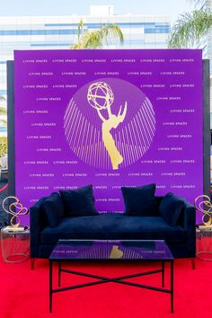 We designed this social media opportunity wall for guests to pose with and share. This was a great way for guests to interact with the event. The Emmys, Outdoor Sofa, Outdoor Decor, Opportunity, Living Spaces, Social Media, Events, Poses, Wall