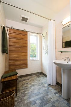 Curbless Shower Design Ideas, Pictures, Remodel, and Decor - page 72. No glass doors? just a curtain? Room looks larger!