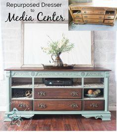 Repurposed dresser turned into a media center. Refurbished Furniture, Repurposed Furniture, Pallet Furniture, Furniture Making, Furniture Makeover, Painted Furniture, Homemade Furniture, Chair Makeover, Furniture Refinishing
