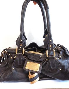 CHLOE WOMEN'S BROWN LEATHER PURSE W/ GOLD BUCKLES AND PADLOCK,GREAT SALE PRICE!!