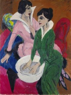 Painting by Ernst Ludwig Kirchner (1880-1938), 1913, Two Women with Basin. iL