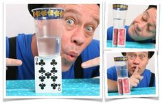 Anti gravity glass - defy gravity and stand a glass on the side of a playing card.