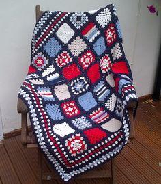 Nautical crochet blanket. Granny square by Jayneanncrochet on Etsy