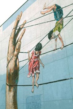 Close-up of street art by Ernest Zacharevic at the Street Art Festival in…