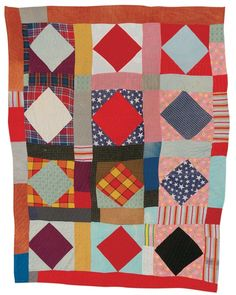 "Pearlie Irby Pettway - ""Diamond in Square""—twelve-block variation - c. 1950 Cotton, polyester, wool, corduroy 82 x 66 inches"
