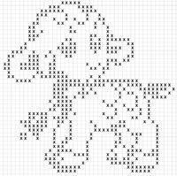 Agnellino con campanella Filet Crochet, Crochet Bobble, Crochet Patterns Filet, Crochet Cross, Crochet Chart, Thread Crochet, Crochet Doilies, Cross Stitch Patterns, Diy Crochet