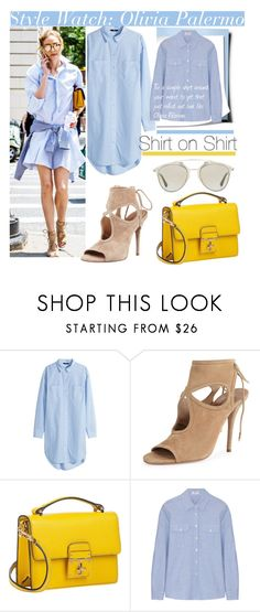 """""""Shirt on Shirt with Olivia Palermo.."""" by nfabjoy ❤ liked on Polyvore featuring H&M, Aquazzura, Dolce&Gabbana, Frame, Christian Dior, shirtdress, OliviaPalermo and CelebrityStyle"""