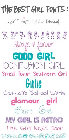 "Download FREE Fonts ~ ""Girl"" fonts and much, much more!"