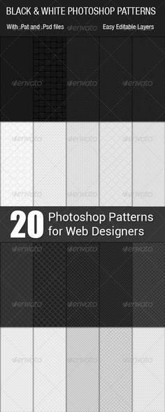 White  Black Seamless Photoshop Patterns  #GraphicRiver
