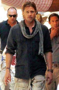 ♂ masculine and elegance man's fashion apparel casual wear man with scarf Brad Pitt