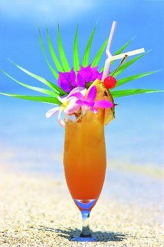 「サンライズ泡盛」泡盛をベースにオレンジジュースとグレナデンシロップ(ざくろ)を使ったトロピカルなカクテル!  リゾートライフを華やかに演出してくれます。