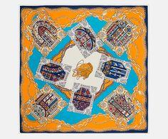Extra Large Square Silk Twill Scarf Orange Blue by SummerMatcha