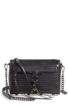 Exquisite line quilting takes this rich leather crossbody by Rebecca Minkoff to a glam statement piece in this years fall wardrobe.