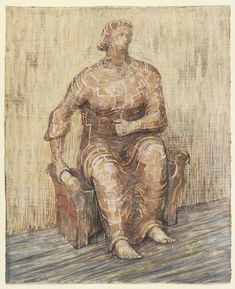 Seated Woman, 1948 Pencil, wax crayon, coloured crayon, watercolour wash and chalk on paper Henry Moore