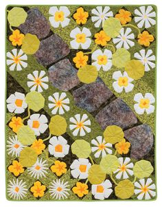 Garden path with flowers, quilt pattern, in: A Paper-Pieced Garden by Francoise Maarse and Maaike Bakker (Martingale) garden print, paperpiec garden, martingal, quilt book, flower quilt paper piece block, gardens, papers, ebook bundl, maaik bakker