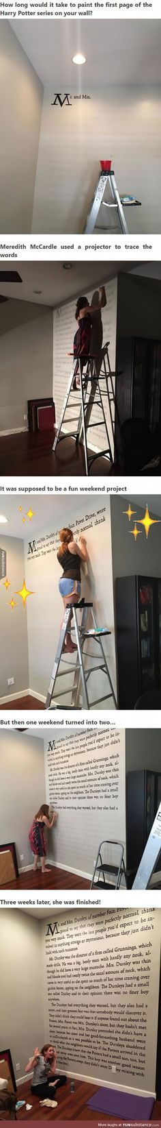 "A Harry Potter Fan Paints First Page Of ""Sorcerer's Stone"" Onto Her Wall - fed ide til et læseværelse"