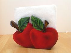 Beautiful Handmade Napkin Holder by FucsiaDesigns on Etsy Apple Decorations, Apple Art, Wooden Cutouts, Rock Decor, Wooden Gifts, Cross Paintings, Acrylic Colors, Wall Hanger, Painting On Wood