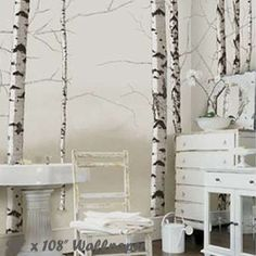 "Birch Trees Neutral 96"" x 108"" Eco Wall Mural"