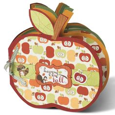 Apple Shaped Mini Album - Scrapbook.com - Cute autumn themed mini album. #scrapbooking #minialbum #autumn #fall #imaginisce