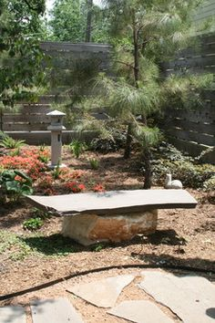 Great slab bench. Perfect for the rustic environment.