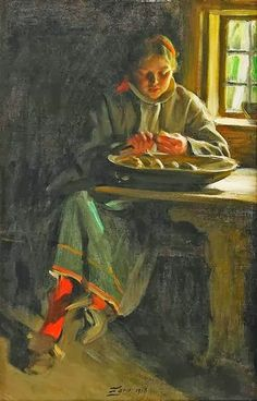 Anders Leonard Zorn (Swedish painter, 1860–1920) Peeling Potatoes 1916