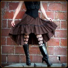 Brown Steampunk Skirt Pirate Stripes by TalismanaDesigns on Etsy