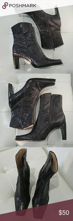 ANTONIO MILANI CLASSIC BOOTS Essential for every closet, this ankle boot has working zippers, with square Point toe and square heel,  has  beautiful Western like pattern, deep dark Brown, excellent condition, does show some wear on bottom, glove fit, size 8 medium on the smaller side ANTONIO MELANI Shoes Ankle Boots & Booties