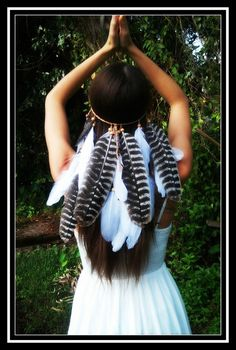 Soaring Eagle feather headband boho gypsy by dieselboutique