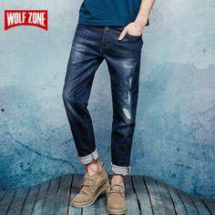 New Autumn Winter 2017 Jeans Men Fashion Trousers Slim Mid Full Length Causal Pants Robin Balmai Cotton Mens Brand Clothing #Affiliate