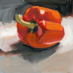 "Red Pepper on Black and White by Gretchen Hancock Oil ~ 6"" x 6"""
