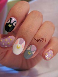 summer french nails Half Up Kawaii Nail Art, Cat Nail Art, Cat Nails, Cute Acrylic Nails, Acrylic Nail Designs, Nail Art Designs, Cartoon Nail Designs, Sailor Moon Nails, Anime Nails