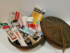 Vintage Wicker sewing basket, spools, thread, lace, needles, tape & misc