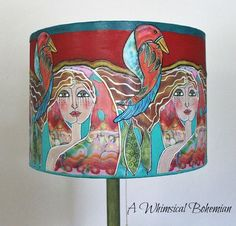 Lighting The House One Lamp Shade at a Time Painting Fabric Furniture, Funky Painted Furniture, Fabric Painting, Painting Lamp Shades, Painting Lamps, She Shed Decorating Ideas, Retro Light Bulbs, Hand Painted Chairs, Lampshades