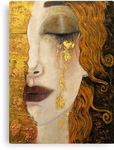 For clarity, this painting is often attributed to Klimt, but was not painted by him. This painting, 'Freya's Tears' was painted by French artist Anne-Marie Zilberman in the style of Klimt. Gustav Klimt, Art Klimt, Art And Illustration, Art Amour, Ouvrages D'art, Fine Art, Art Design, Interior Design, Oeuvre D'art