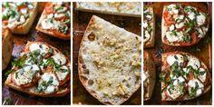 Pizza margarita con pandereta ajo, picamos el ajo, lo ponemos sobre la tostada de pan rústico, añadimos un poquito de aceite, el tomate en rodajas, la mozzarella y la albahaca fresca, lo ponemos al horno o al microondas grill