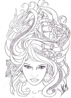 maritime hair tattoo sketch by Nevermore-Ink on DeviantArt