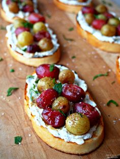Roasted-Grapes-Crostini caramelizes sweet grapes with a light balsamic dressing before nestling them on a savory bed of ricotta and crisp, buttery toast. This is one appetizer to remember!