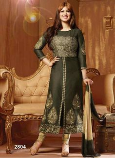 Bottom Fabric Cotton Celebrity Ayesha takiya Colour Green Dupatta Fabric Nazneen Fabric Cotton Fabric Care Dry Clean Only Occasion Festival, Party Shipping time 7 days Type Straight Work Embroidered