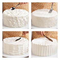 Simple ways to decorate a cake - peaks, zigzags, waves, and stripes! Use these easy tips and instructions to learn how to decorate a cake like a pro! Find helpful hints for frosting a cake, filling a pastry bag and more cake decorating tips. Cake Decorating Techniques, Cake Decorating Tips, Cookie Decorating, Just Desserts, Delicious Desserts, Decoration Patisserie, Kolaci I Torte, Cake Tasting, Cake Tutorial
