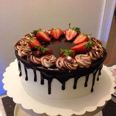 Strawberry sponge cake with mirror glaze