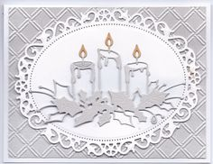 card christmas candles candle trio, Spellbinders floral oval ovals, Memory Box die used in an elegant way by the designer. Simple colour scheme with touch of yellow on the flame. Christmas Paper Crafts, Homemade Christmas Cards, Christmas Cards To Make, Xmas Cards, Handmade Christmas, Homemade Cards, Scandinavian Christmas, Modern Christmas, Christmas Christmas