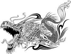 Дракон Doodle эскиз татуировки